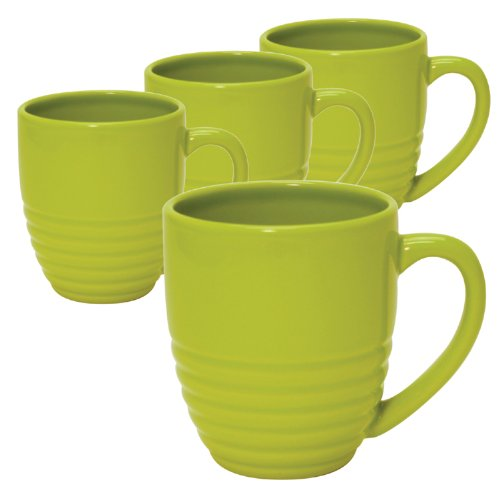 - Chantal 20-Ounce Ring Mugs, Glossy Lime Green, Set of 4
