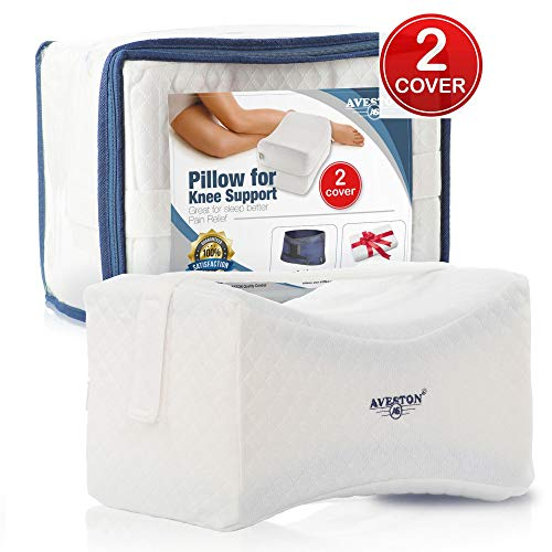 Knee Pillow for side sleepers with Strap provide Soft Knee Support - Contour Leg pillows for sleeping between knees for Joint Pain, Back Pain, Sciatica pain relief + has Extra 100% Natural Cotton Cove