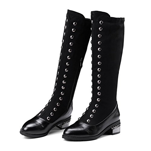 Agodor Womens Pointed Toe Low Chunky Heel Knee High Boots With Zip Long Boots With Rivets Winter Shoes Black 4Z1R67