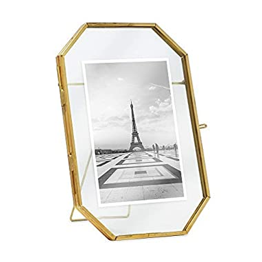 Isaac Jacobs 4x6, Antique Gold, Vintage Style Octagon Brass and Glass, Metal, Floating Desk Photo Frame (Vertical), with Locket Closure for Pictures Art, More (4x6)