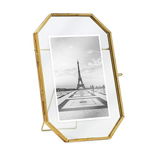 (Isaac Jacobs 4x6, Antique Gold, Vintage Style Octagon Brass and Glass, Metal, Floating Desk Photo Frame (Vertical), with Locket Closure for Pictures Art, More (4x6))