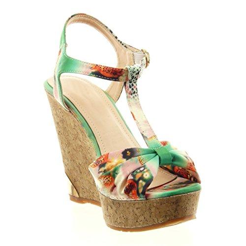 Sopily - Scarpe da Moda sandali aperto cinturino alla caviglia donna fiori nodo sughero Tacco zeppa 12 CM - soletta sintetico - Verde