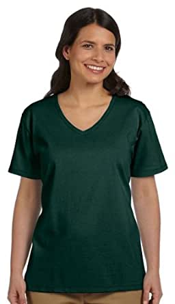 Hanes Relaxed Fit Women's ComfortSoft® V-neck T-Shirt, S-Deep Forest