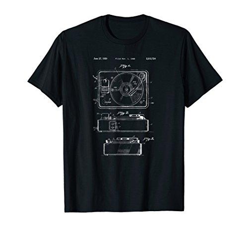 Mens Vintage Turntable Shirt - Retro Record Player Turn Table Tee Medium Black