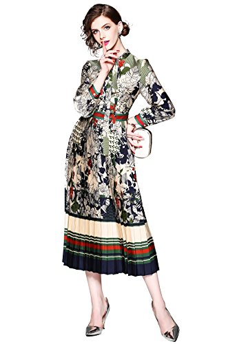LAI MENG FIVE CATS Women's 3/4 Sleeve Floral Print Button up Casual A-line Party Swing Midi Dress (US 4, Style 1)