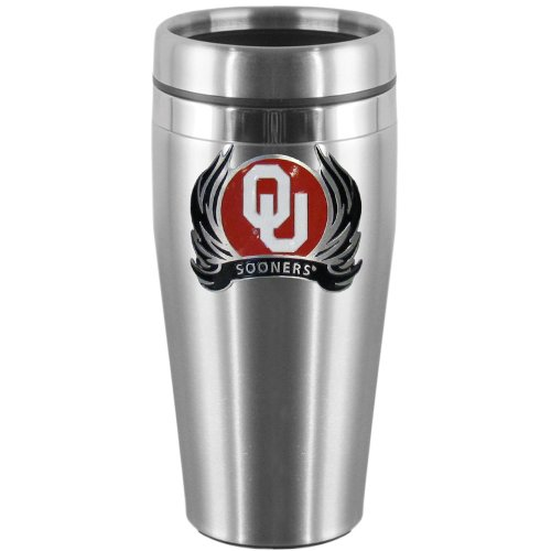 NCAA Oklahoma Sooners Steel Travel Mug with Flame (Flame Logo Mug)