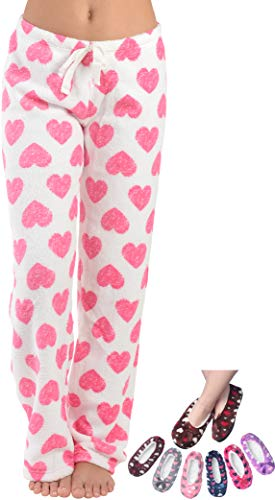 Heart Lounge Set (Women's Pajama Plush Super-Soft Fleece Pajama/Lounge Pants with Slipper (Big Love Heart with 26605-2 Slippers Assorted Colors, Medium))