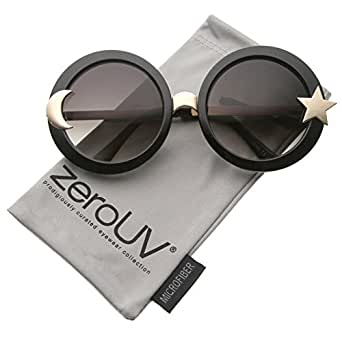 zeroUV - Women's Moon And Star Metal Temple Oversize Round Sunglasses 55mm (Black / Smoke)