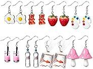 PANTIDE 8 Pairs Funny Dangle Earrings Gummy Bear Goldfish Water Bottle Paint Palette Earrings Strawberry Mushr