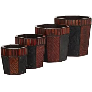 Nearly Natural 515 Bamboo Octagon Decorative Planters, Brown, Set of 4