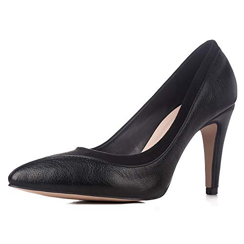 sorliva Classic Black Suede with Gold High Heels Pointed Toe Evening Dress Pumps Shoes (7, Black)
