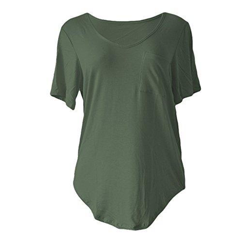 Sumtory Women Plus Size Short Sleeve V Neck Loose Top Shirt – Large, ArmyGreen