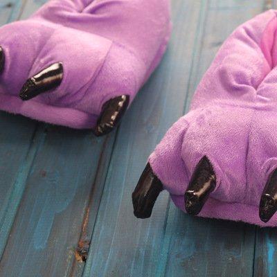 Cartoon Shoes Costume de Maison Pantoufles Soft Griffe d'animal Dinosaur Claw DarkCom Paw Violet Pantoufles Adulte Unisexe Pantoufle Forme Plus Antidérapant 6xUq87O