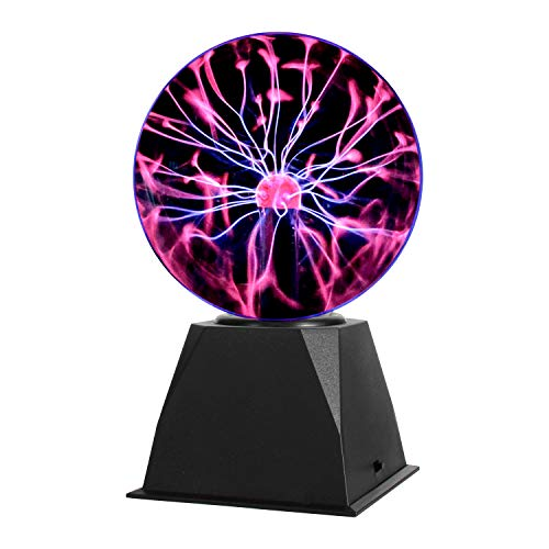 Gresus 6 Inch Magic Plasma Ball Lamp - Touch & Sound Sensitive Interactive USB Powered Plasma Lamp Nebula Sphere Globe, Science Educational Gift for Decorations/Parties/Bedroom (Color: Black)