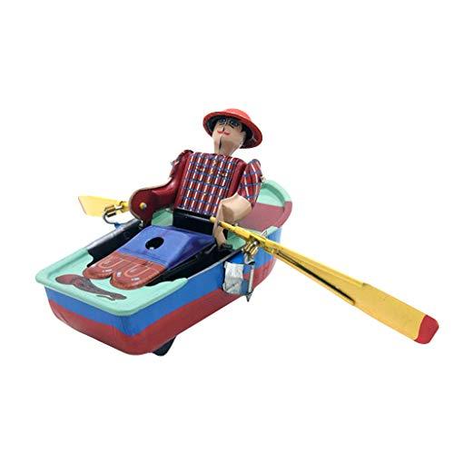 (Elaco Sliding Boat Tinplate Toy Nostalgic Clockwork Chain Toy Window Display Toy Photography Props )