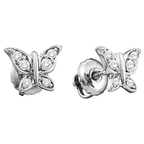 Dazzlingrock Collection 0.15 Carat (ctw) 14K Round White Diamond Ladies Butterfly Stud Earrings, White Gold ()