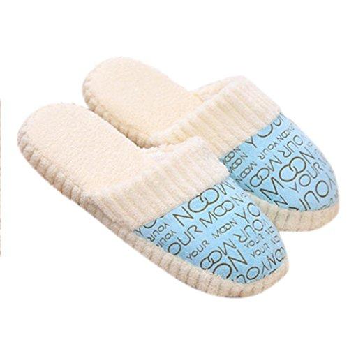 Sagton Women Ladies Cozy Home Floor Soft Cotton-padded Slippers Blue jUuEtLO9x