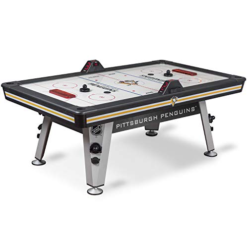 NHL Air Powered Hockey Table - Pittsburgh Penguins - 84 Inch-  Features Scratch Resistant Material, Automatic Scoring, and Built-In Accessory Storage