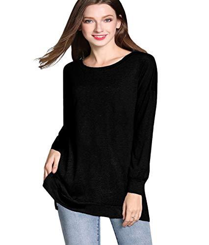 GSVIBK Womens Round Neck Pullover Tunics Casual Long Sleeve Side Split Tunic Top Loose Pullover Tunic Sweatshirts