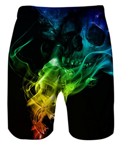 f0971e2e2dafc Belovecol Men's Swim Shorts 3D Print Smoke Skull Bathing Suits Summer Board  Shorts Black M by