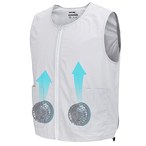 DEWBU Workwear Equipped Cooling Vest Fan with Battery Pack for Summer Outdoors Air-Conditioned Clothes (Grey Vest Suit,XX-Large)
