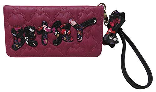 Betsey Johnson Double Entry Wristlet Wallet Berry (Betsey Johnson Bag Pink Bow)