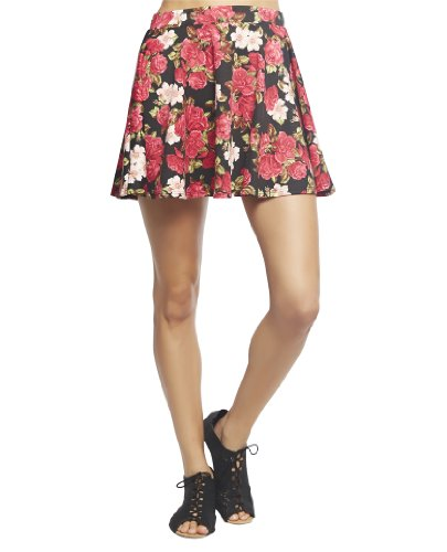 Wet Seal Women's Floral Needle Point Ponte Skater Skirt S Blk/Pink