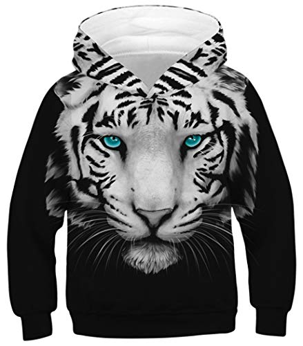 HaniLav Boys Girls 3D Tiger Print Graphic Pullover Hoodie Sweatshirts Pocket,White -
