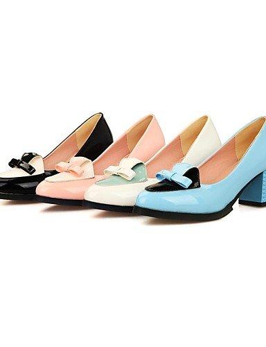 GGX/Damen Schuhe Patent Leder Sommer/spitz Toe Heels Büro & Karriere/Casual Chunky Heel bowknotblack/blau/pink/ pink-us8 / eu39 / uk6 / cn39