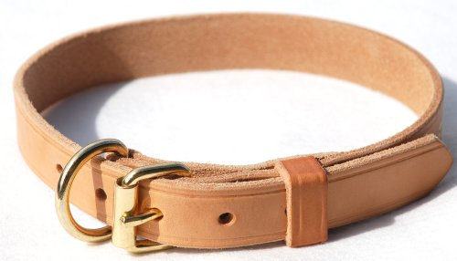 Dog Collar Leather Tan - Signature K9 1-Inch Adjustable Leather Collar, 18-22-Inch, Tan