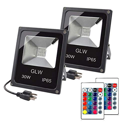 (GLW 30W RGB LED Flood Light Remote Control Outdoor Landscape Lighting IP65 Waterproof 16 Colors Changing 4 Mode Security Light for Garden,Lawn,Yard (2)