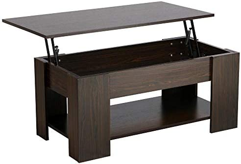 Yaheetech Adjustable Lift Top Coffee Table – with Hidden Storage Compartment for Living Room Espresso