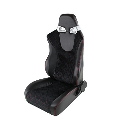 Driver Side Suede//PVC Leather JDM Red Check Pattern Stitch Black Racing Seat