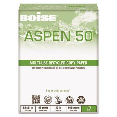 ASPEN 50% Multi-Use Recycled Paper, 92 Bright, 20lb, 8 1/2 x 11, White, Sold as 1 Carton, 10 Ream per Carton