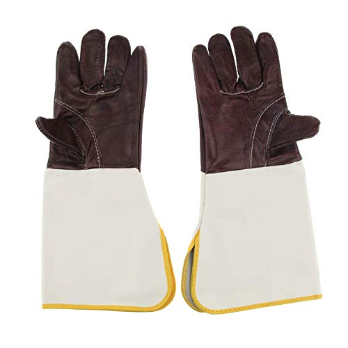 Jytrading Leather BBQ Cooking Mitts Barbecue Heat Proof Mittens Pure Cowhide Welding Mittens