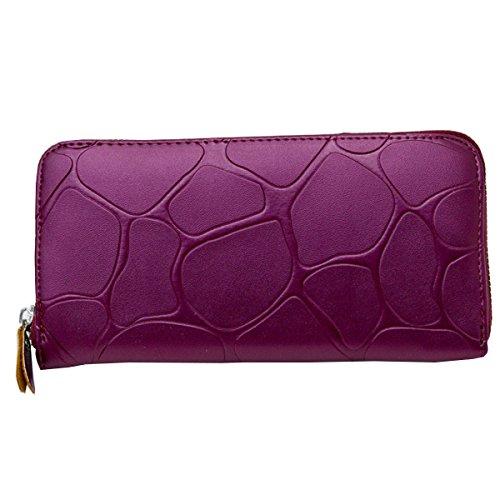 Fonshow Womens Leather Wallet Clutch Long Zipper Wallets Large Capacity Card Holder Purse Handbag - Wallet Clutch Zipper