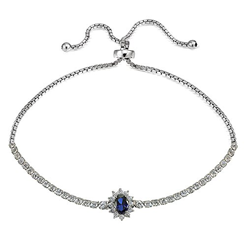 GemStar USA Sterling Silver Simulated Blue Sapphire Flower Tennis Adjustable Bolo Bracelet -