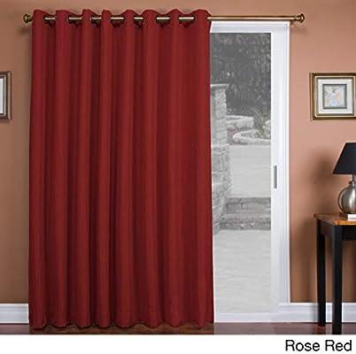 1Pieza 84 cortina de puerta corredera, de color sólido rosa rojo ...