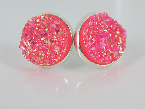 [Silver-tone Hot Pink AB Faux Druzy Stone Stud Earrings 12mm] (Simple Cheer Dance Costumes)
