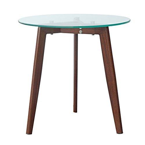 End Glass Walnut Table (POLY & BARK EM-280-WAL Triskele End Table, Walnut)