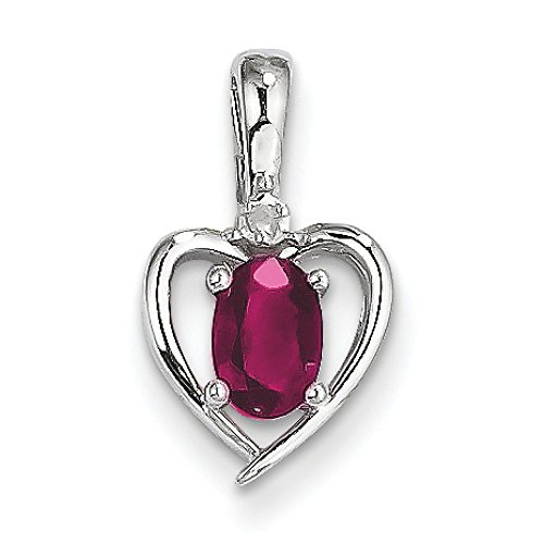 Or blanc 14 carats Rubis et diamant brut véritable-JewelryWeb