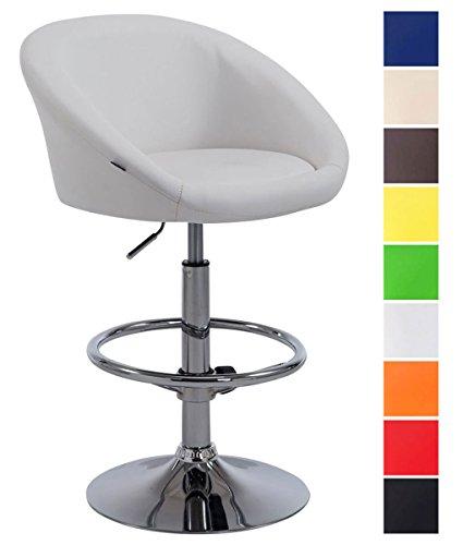 CLP Taburete Miami V2 en Cuero Sintetico I Taburete Cocina Giratorio & Regulable en Altura I Color: Blanco