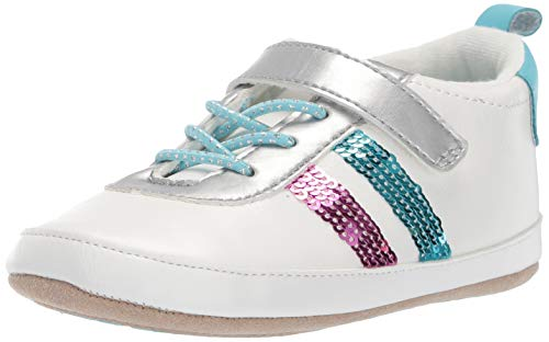 Ro + Me by Robeez Girls' Sequin Athletic Sneaker Crib Shoe, Aqua, 18-24 - Shoes Athletic Robeez