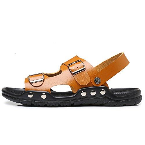 Chaussures Plage des CUSTOME Boucle Hommes Toe Cuir Confort Sur Mode Sandales Loisir Faux Léger Appartement Vacances Jaune Poids Été Open Glisser A5UqOf