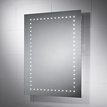 Rectangular LED Illuminated Battery Operated Bathroom Mirror Iris Maya 600mm X 800mm