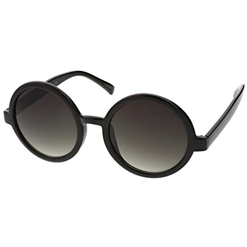 abcc81671 zeroUV - Classic Retro Horn Rimmed Neutral-Colored Lens Round Sunglasses  52mm free shipping