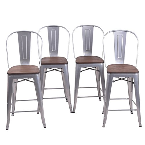 26 Inch High Back Metal Bar Stool for Indoor-Outdoor Kitchen Counter Bar Stools Set of 4 ¡ (26 inch, High Back Silver Wooden) (Stools For Island Kitchen)