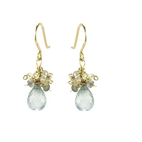 Labradorite Mystic Earrings (Green gemstone drop earrings)