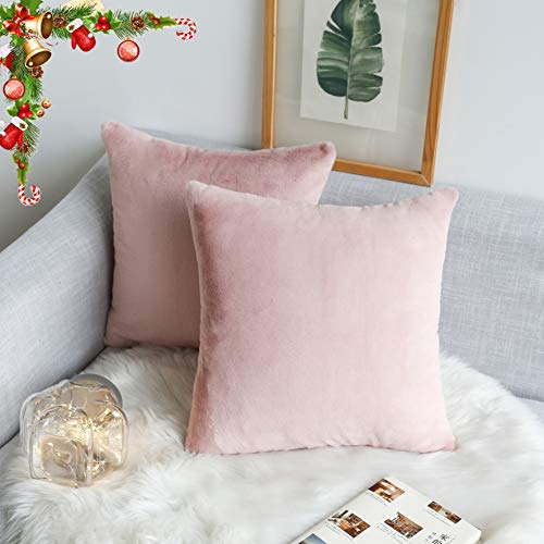 Kevin Textile Instagram Most Popular Faux Angola Rabbit Hair/Suede Pillow Covers Cushion Case Square Throw Pillowcase for Sofa Car Bed, Set of 2, 18 x 18 Inch, Creole ()