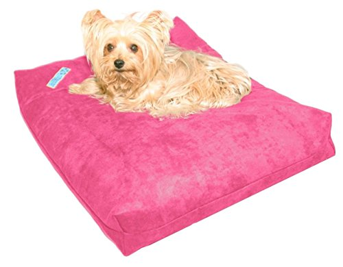 Five Diamond Collection Shredded Memory Foam Orthopedic Bed with Removable Washable Cover and Water Proof Inner Fabric, Small (25-Inch-by- 20-Inch), Hot Pink Microfiber, for Dogs